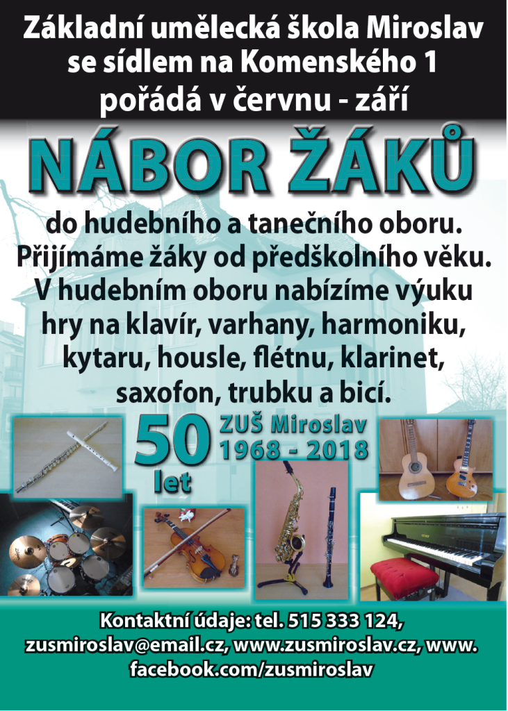 Plakát ZUŠ Mirolav NÁBOR 50 let